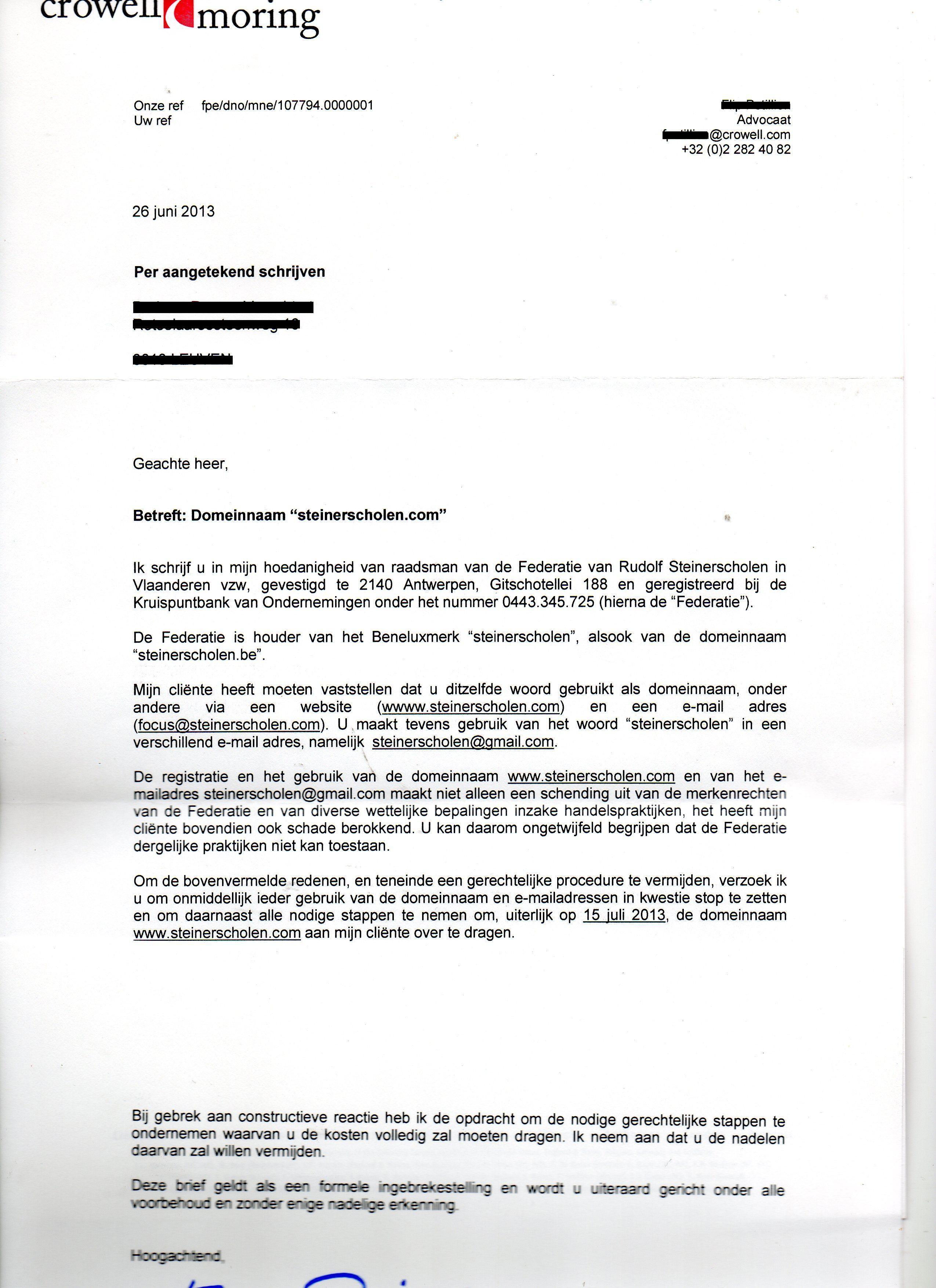 Federatie Steinerscholen wil via juridische weg Steinerscholen.com bemachtigen